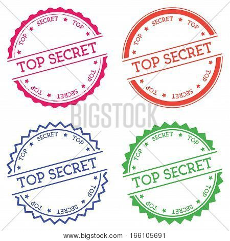 Top Secret Badge Isolated On White Background. Flat Style Round Label With Text. Circular Emblem Vec