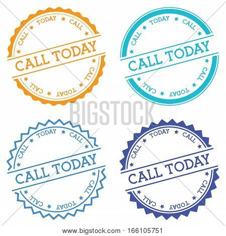 Call Today Badge Isolated On White Background. Flat Style Round Label With Text. Circular Emblem Vec