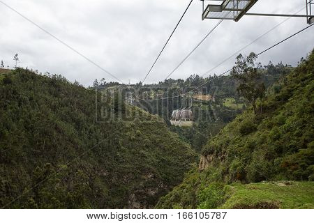 cable cars crossing the valley at the Las Lajas sanctuary in Ipiales Colombia