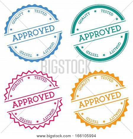 Approved Quality Tested Badge Isolated On White Background. Flat Style Round Label With Text. Circul