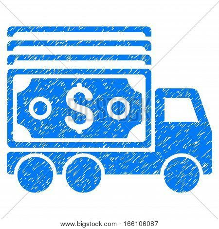 Cash Lorry grainy textured icon for overlay watermark stamps. Flat symbol with dust texture. Dotted vector blue ink rubber seal stamp with grunge design on a white background.