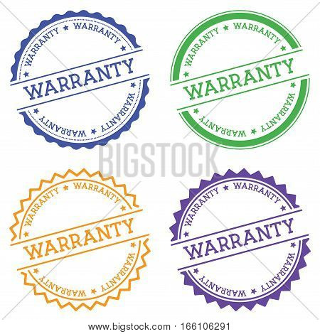 Warranty Badge Isolated On White Background. Flat Style Round Label With Text. Circular Emblem Vecto
