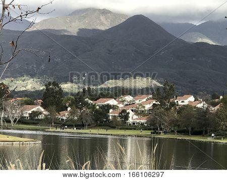 The gorgeous hillside view from Rancho Santa Margarita Lake in California.