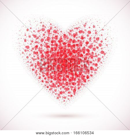 Vector red heart background. Valentine Day. Vector holiday. Mosaic design banner. Abstract stippled texture. Love heart.