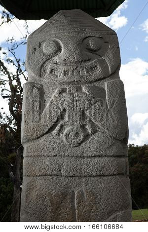 pre-columbian bird statue at the San Agustin necropolis in Colombia