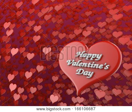 happy valentine's day on many red hearts background 3D illustration
