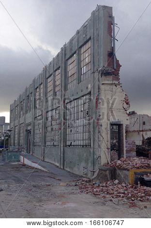 2nd Street, Los Angeles, CA building being demolished.
