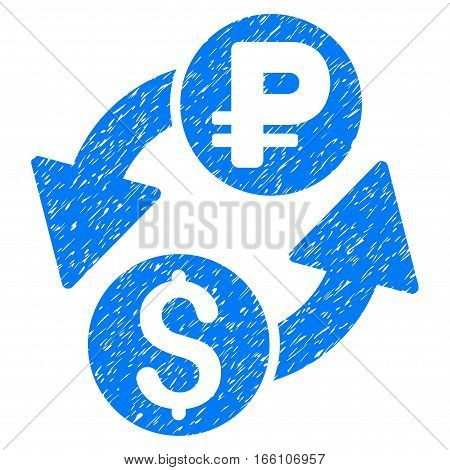 Dollar Rouble Exchange grainy textured icon for overlay watermark stamps. Flat symbol with scratched texture. Dotted vector blue ink rubber seal stamp with grunge design on a white background.