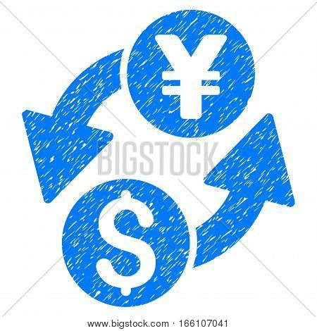Dollar Yen Exchange grainy textured icon for overlay watermark stamps. Flat symbol with scratched texture. Dotted vector blue ink rubber seal stamp with grunge design on a white background.