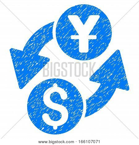 Dollar Yuan Exchange grainy textured icon for overlay watermark stamps. Flat symbol with scratched texture. Dotted vector blue ink rubber seal stamp with grunge design on a white background.