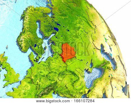 Belarus On Earth In Red