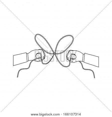 Hand and bowtie rope icon. Cord string cable and knot theme. Isolated design. Vector illustration
