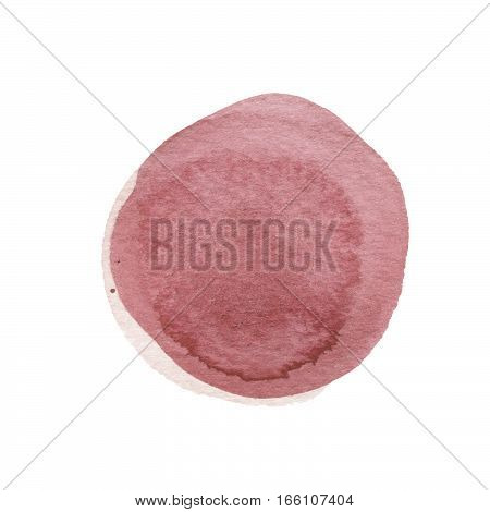 Brown, bole watercolor circle isolated on white. Abstract round background. Wine watercolour stains texture. Hand drawn redwood spot. Garnet circle with uneven edges. Light pastel colors.