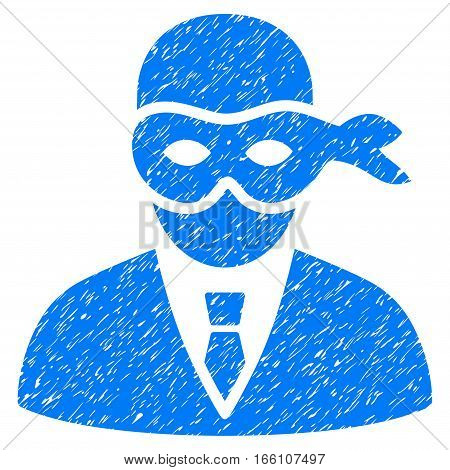 Masked Thief grainy textured icon for overlay watermark stamps. Flat symbol with unclean texture. Dotted vector blue ink rubber seal stamp with grunge design on a white background.