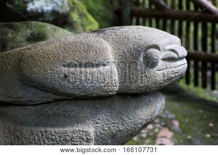 pre-columbian era statue in San Agustin archeological park Colombia