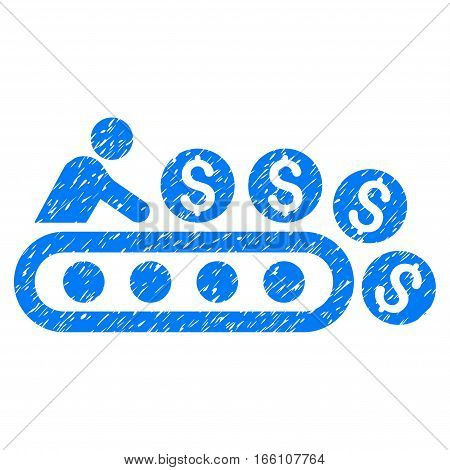 Money Production grainy textured icon for overlay watermark stamps. Flat symbol with dirty texture. Dotted vector blue ink rubber seal stamp with grunge design on a white background.
