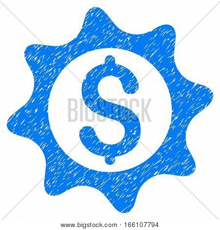 Money Seal grainy textured icon for overlay watermark stamps. Flat symbol with dirty texture. Dotted vector blue ink rubber seal stamp with grunge design on a white background.