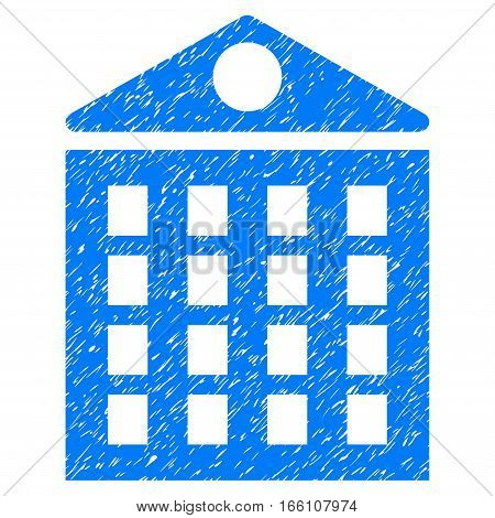 Multi-Storey House grainy textured icon for overlay watermark stamps. Flat symbol with dirty texture. Dotted vector blue ink rubber seal stamp with grunge design on a white background.
