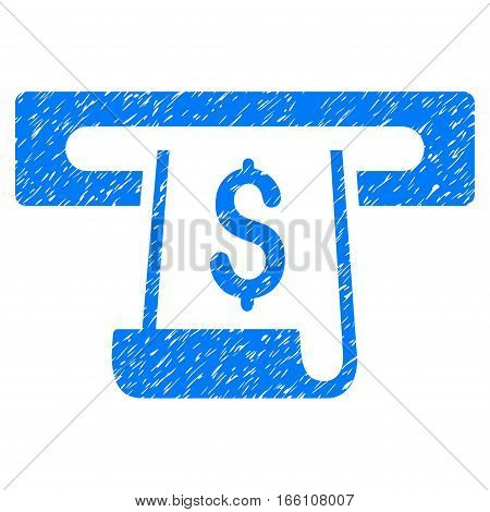 Paper Receipt Slot grainy textured icon for overlay watermark stamps. Flat symbol with unclean texture. Dotted vector blue ink rubber seal stamp with grunge design on a white background.