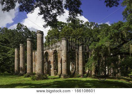 The ruins of Sheldon Church built in 1745 near Beaufort South Carolina