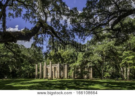 The ruins of Sheldon Church built in 1745 near Beaufort South Carolina