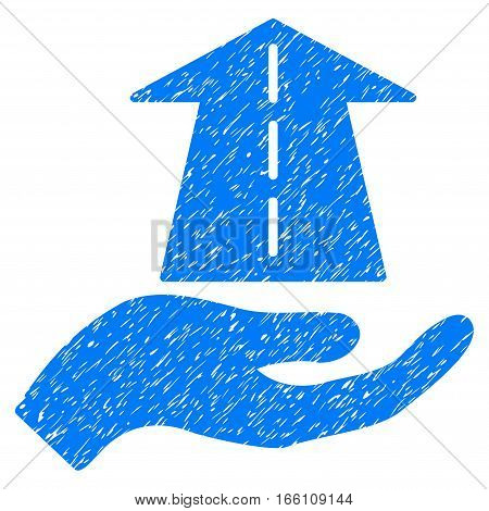 Future Care Hand grainy textured icon for overlay watermark stamps. Flat symbol with unclean texture. Dotted vector blue ink rubber seal stamp with grunge design on a white background.