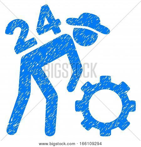 Nonstop Working Person grainy textured icon for overlay watermark stamps. Flat symbol with scratched texture. Dotted vector blue ink rubber seal stamp with grunge design on a white background.