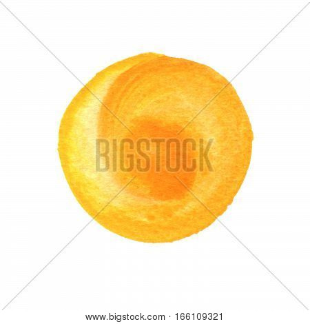 Primrose yellow orange circle shape with space for text. Watercolor golden yellow round background with uneven edges. Watercolour stains abstract texture.