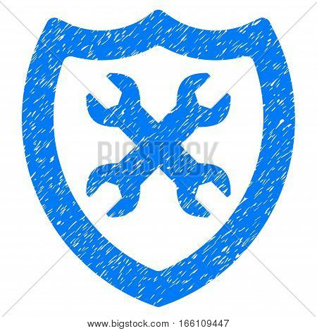 Security Configuration grainy textured icon for overlay watermark stamps. Flat symbol with unclean texture. Dotted vector blue ink rubber seal stamp with grunge design on a white background.