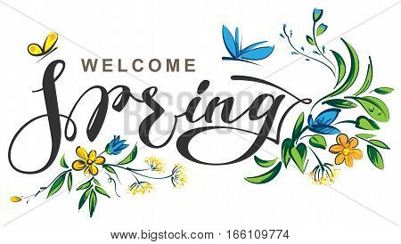 Welcome spring lettering text. Illustration in vector format