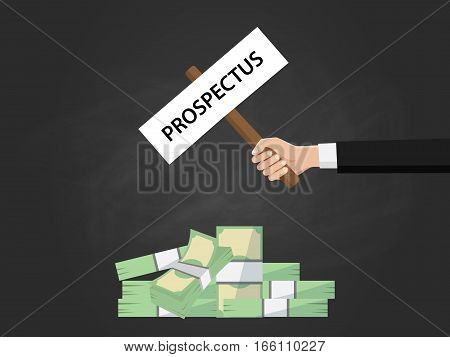 prospectus sign board on top of heap of money illustration vector vector