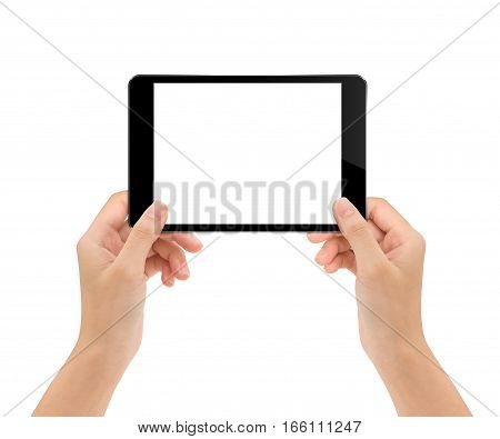 mock-up tablet in woman hand isolated on white clipping path inside