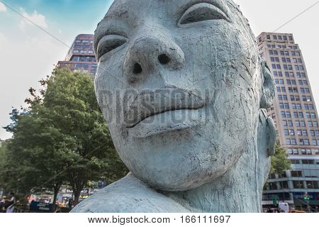 New York, June 22, 2016: Sculpture named Morphous by Lionel Smit is displayed on Union Square.