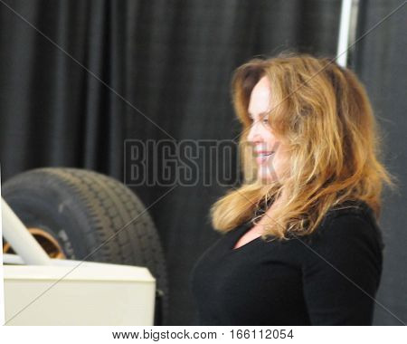 Catherine Bach (Daisy Duke) of the dukes of Hazzard makes an appearance at the world of wheels autoshow in Pittsburgh PA