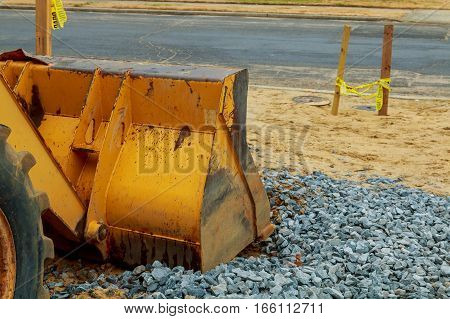 Excavator Is Parked At Construction Site