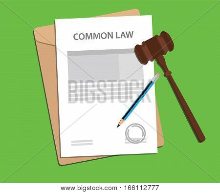 common law concept illustration with gavel and pencil vector