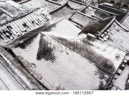 Bukchon Hanok Village In Winter