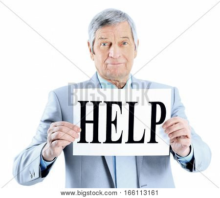 Nice businessman at the age with a request for help. Isolated on a white background.
