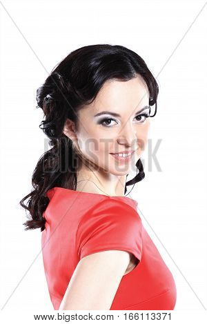 Happy young woman in red dress. Isolated over white background