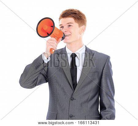 beginner businessman with an orange megaphone on a white background