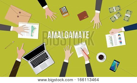 Amalgamate concept illustration in a team dicussion vector