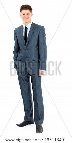 portrait of a newcomer businessman in a business suit in full growth.the photo has a empty space for your text