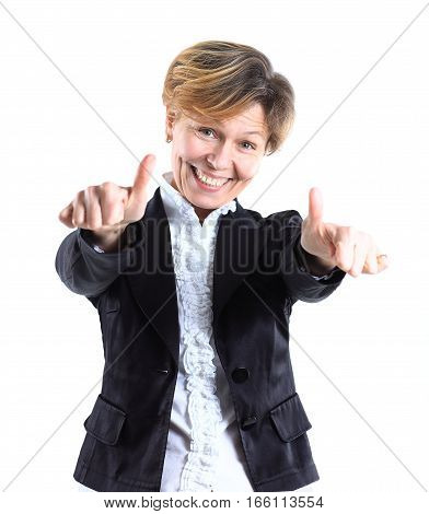 successful business woman with thumbs up.the photo has a empty space for your text