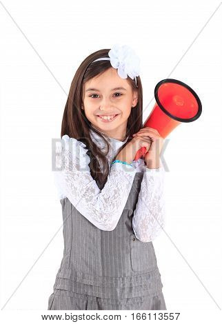 The little girl with the mouthpiece  on white background.