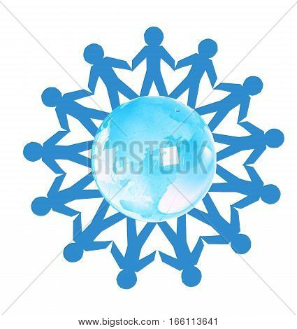 Paper people standing in a circle around glass globe