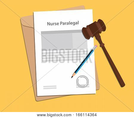 signing legal concept of nurse paralel law illustration vector