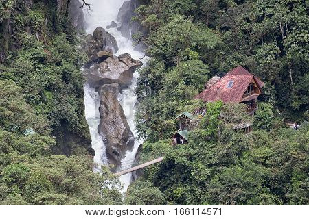 July 15 2016 Banos Ecuador: the bottom part of Pailon del Diablo waterfall with the guesthouse