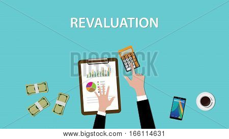 working on revaluation on a table with littered money and calculator illustration vector