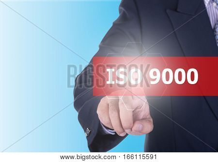 Businessman Pressing Iso 9000