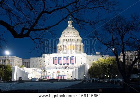 WASHINGTON, DC - JAN.19, 2017: The night of Capitol before Presidential Inauguration of Donald Trump as the 45th President of the United States in Washington DC, USA.